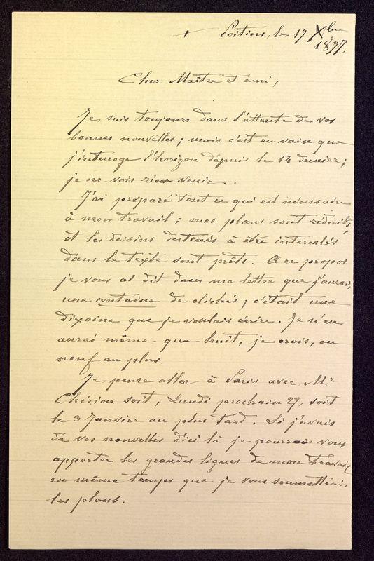 Visuel du media #12 - Lettre de De La Croix à Babelon du 19 décembre 1897, page 1