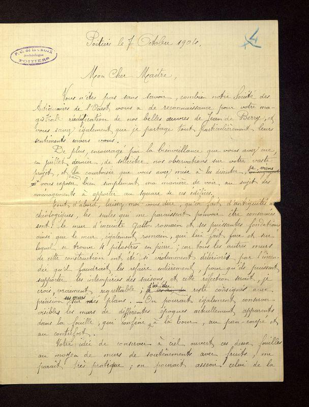 Visuel du media #11 - Lettre de De La Croix à Magne du 07 octobre 1904, page 1