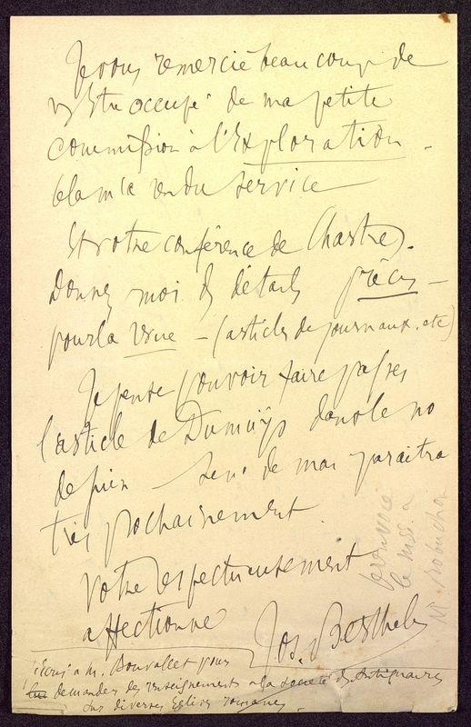 Visuel du media #10 - Lettre de Berthelé à De La Croix du 16 mai 1884, page 4