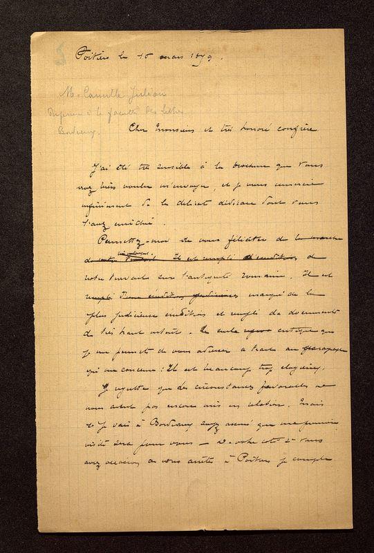 Visuel du media #5 - Lettre de De La Croix à Jullian du 16 mars 1899, page 1