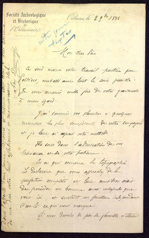 Visuel du media #5 - Lettre de Dumuÿs à De La Croix du 02 novembre 1886, page 1