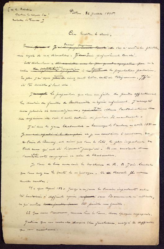Visuel du media #2 - Brouillon de lettre de De La Croix à Babelon du 11 juillet 1896, page 1