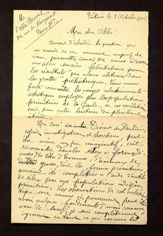 Visuel du media #11 - Lettre de De La Croix à Breuil du 03 octobre 1906, page 1
