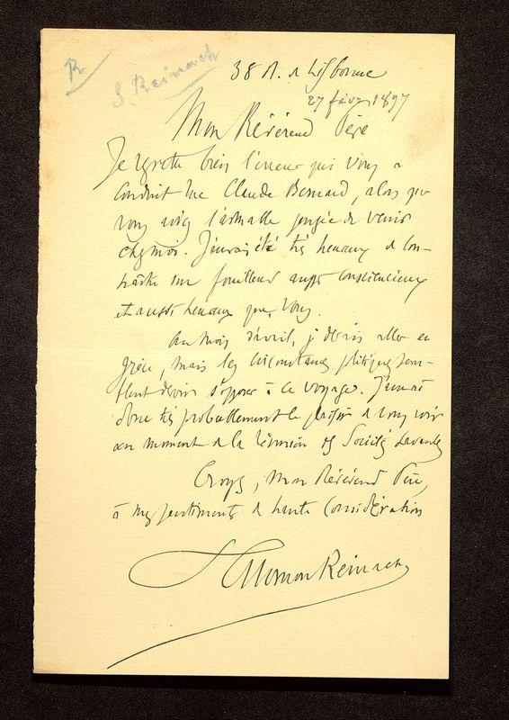Visuel du media #3 - Lettre de Reinach à De La Croix du 27 février 1897