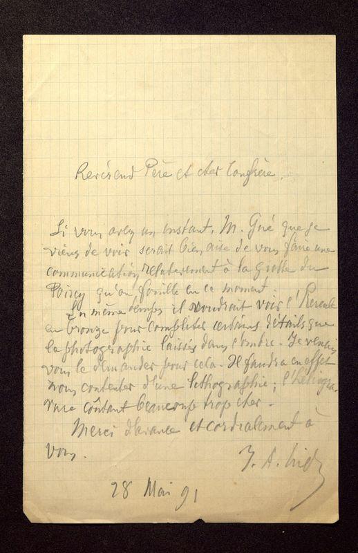 Visuel du media #5 - Lettre de Hild à De La Croix du 28 mai 1891