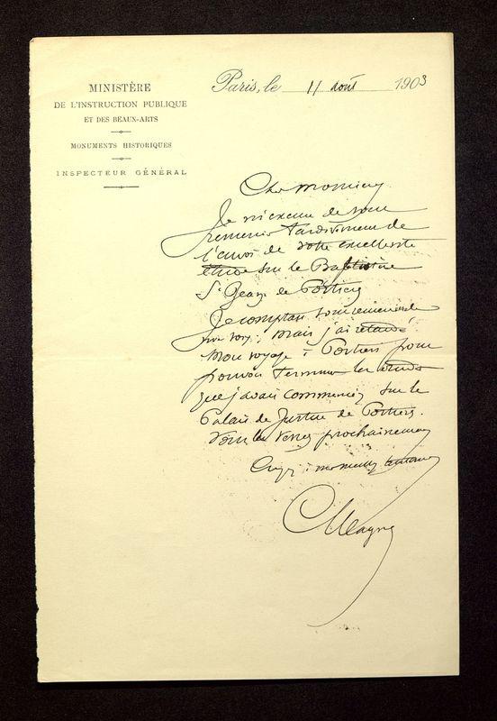 Visuel du media #5 - Lettre de Magne à De La Croix du 11 août 1903