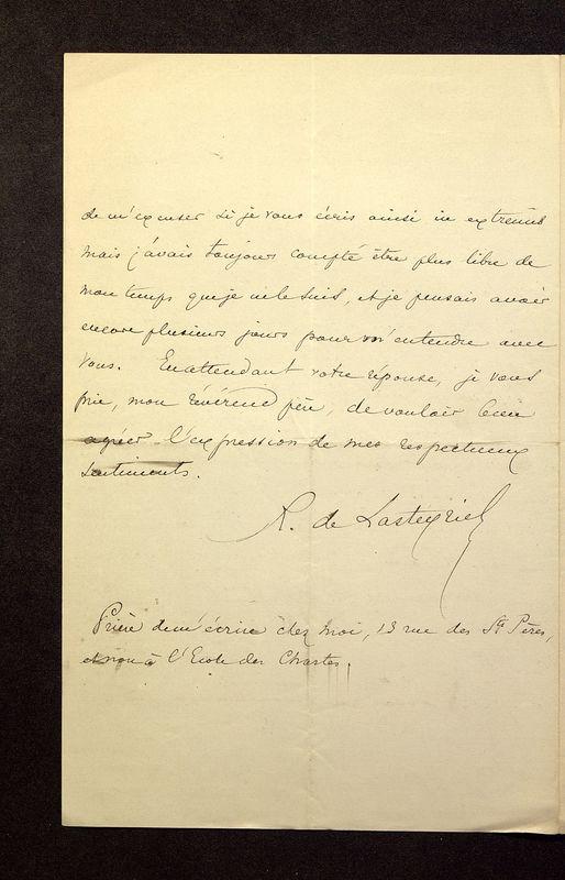 Visuel du media #5 - Lettre de Lasteyrie Du Saillant à De La Croix du 29 mars 1882, page 4
