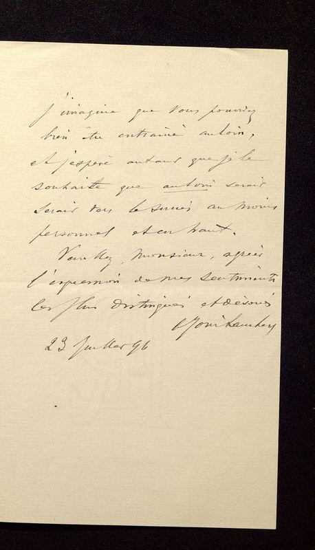 Visuel du media #7 - Lettre de Join-Lambert à De La Croix du 23 juillet 1896, page 3
