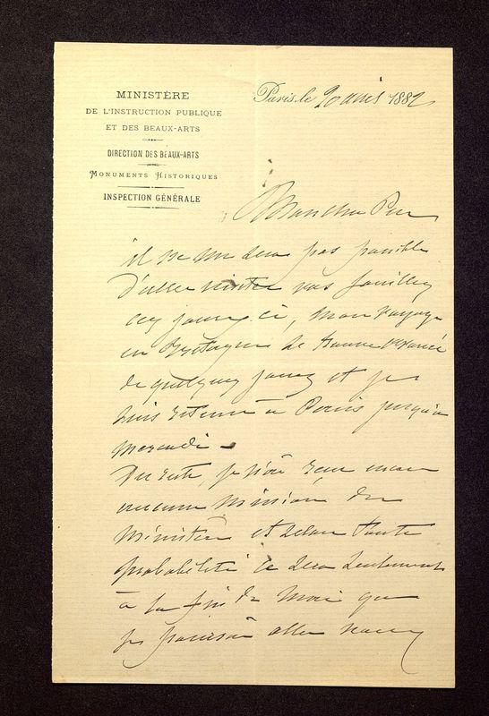 Visuel du media #4 - Lettre de Lisch à De La Croix du 20 avril 1882, page 1