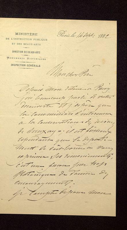 Visuel du media #9 - Lettre de Lisch à De La Croix du 14 septembre 1882, page 1