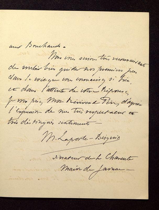 Visuel du media #2 - Lettre de Laporte-Bisquit à De La Croix du 02 avril 1901, page 2
