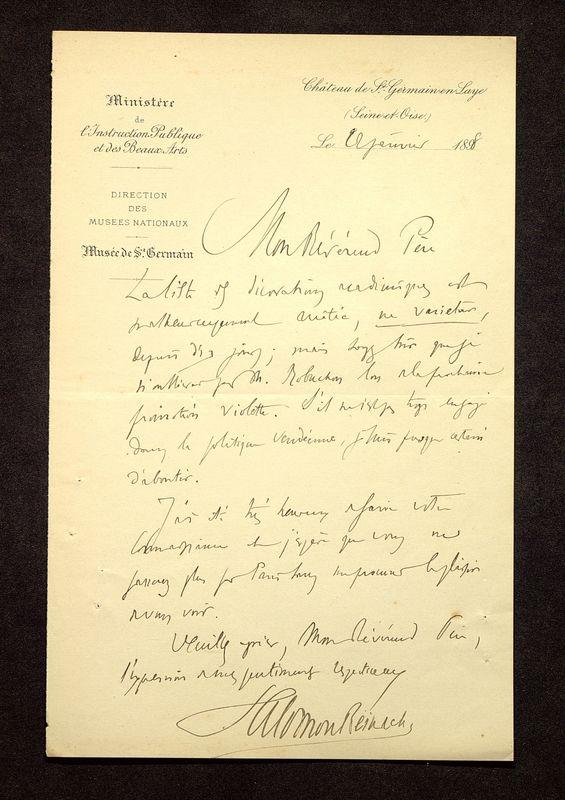 Visuel du media #5 - Lettre de Reinach à De La Croix du 22 janvier 1898