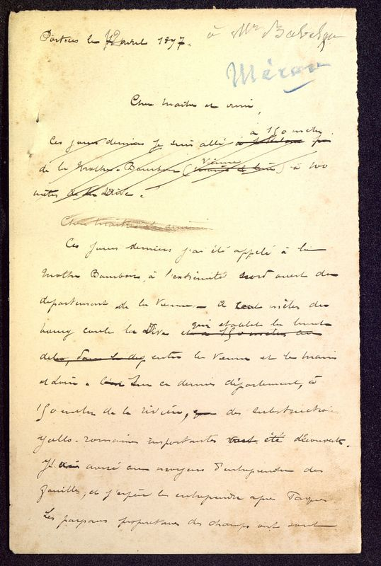 Visuel du media #4 - Brouillon de lettre de De La Croix à Babelon du 12 avril 1897, page 1