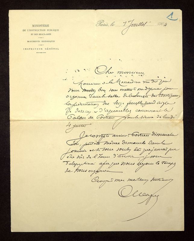 Visuel du media #8 - Lettre de Magne à De La Croix du 01 juillet 1904
