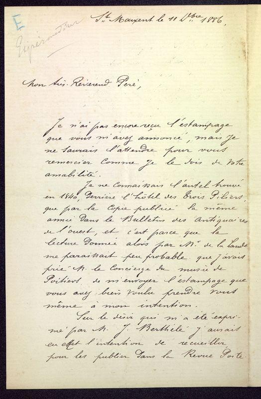 Visuel du media #8 - Lettre de Espérandieu à De La Croix de 1886, page 1