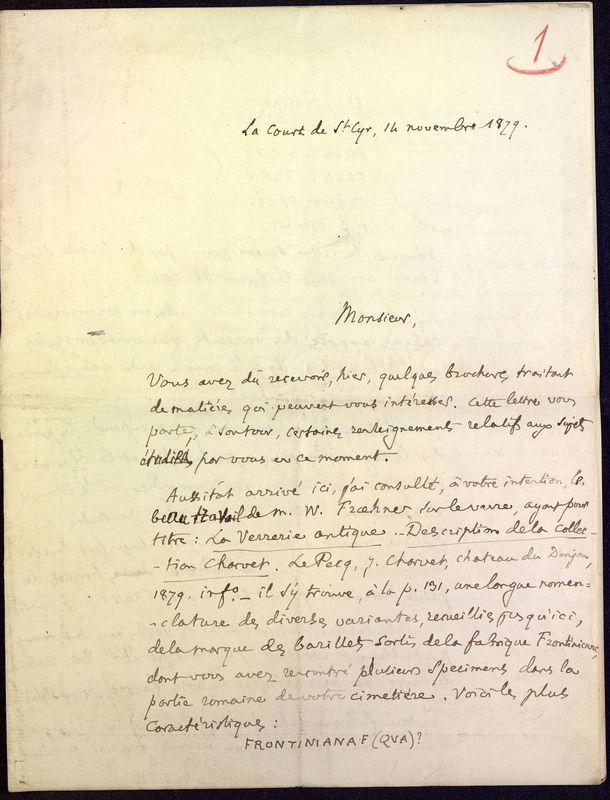 Visuel du media #1 - Lettre de Fillon à De La Croix du 14 novembre 1879, page 1