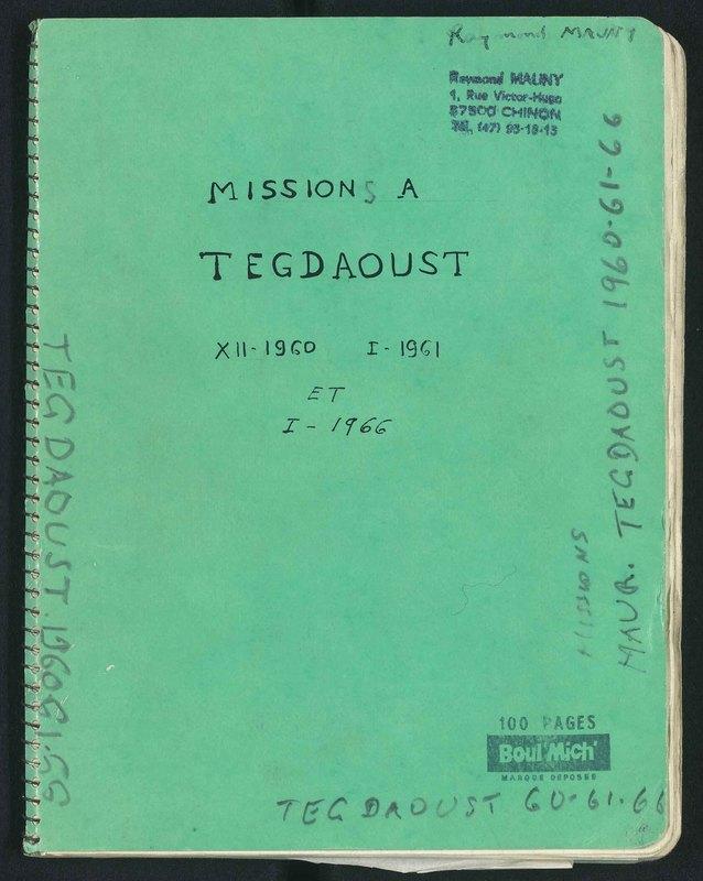 Visuel du document Missions à Tegdaoust (Mauritanie), 1960 et 1966