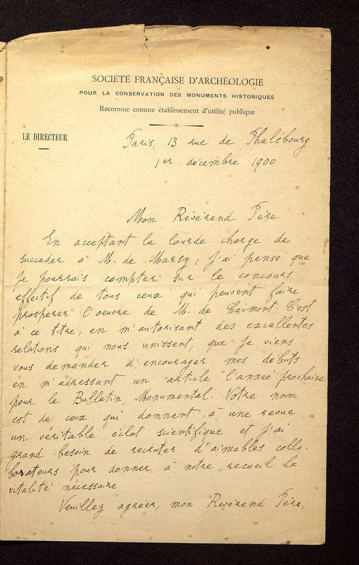Visuel du media #2 - Lettre de Lefèvre-Pontalis à De La Croix du 01 décembre 1900, page 1