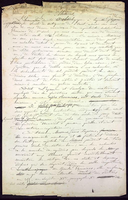 Visuel du document Notes manuscrites sur les thermes de Poitiers
