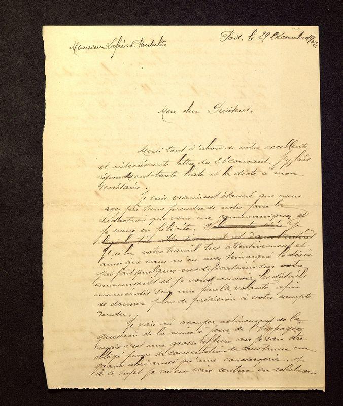 Visuel du media #8 - Lettre de De La Croix à Lefèvre-Pontalis du 29 décembre 1902, page 1