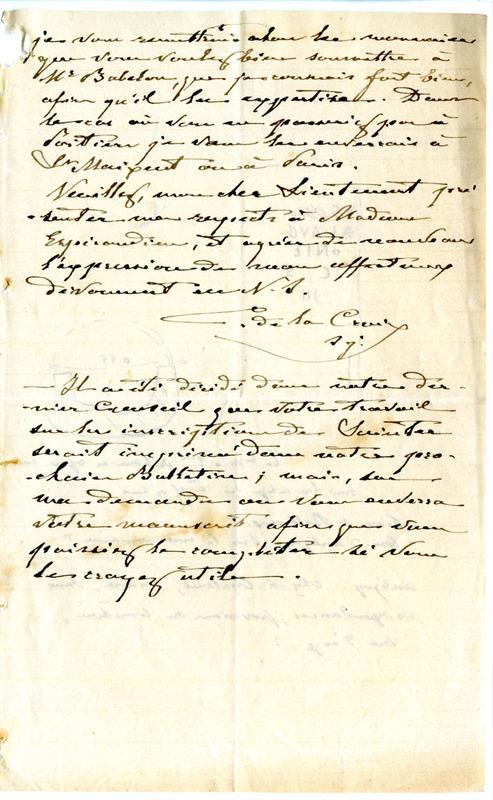Visuel du media #7 - Lettre de De La Croix à Espérandieu du 28 février 1888, page 4