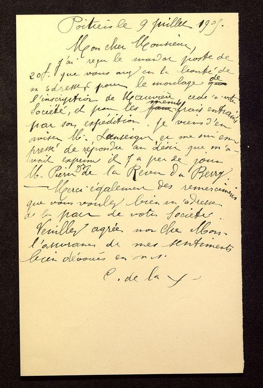 Visuel du media #2 - Lettre de De La Croix à Rollinat du 09 juillet 1905