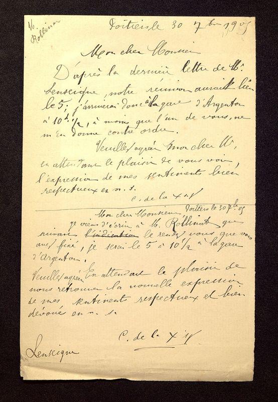 Visuel du media #11 - Lettre de De La Croix à Rollinat du 30 juillet 1905