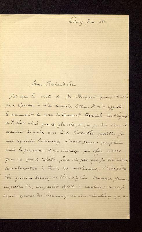 Visuel du media #12 - Lettre de Lasteyrie Du Saillant à De La Croix du 15 juin 1882, page 1