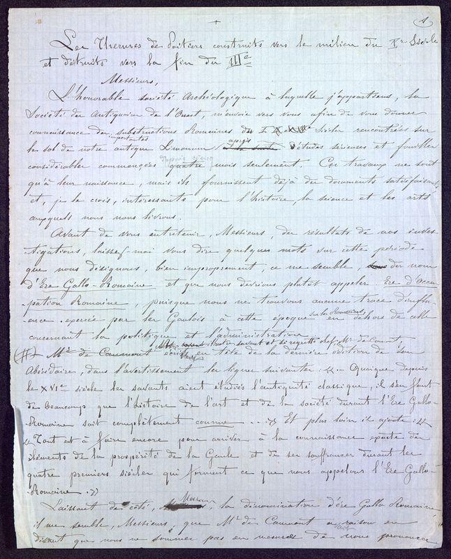 Visuel du media #12 - Les thermes de Poitiers, manuscrit communication 15 p., page 1
