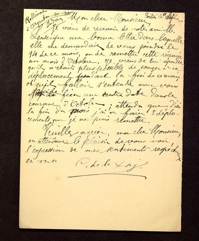 Visuel du media #10 - Lettre de De La Croix à Rollinat du 11 septembre 1905
