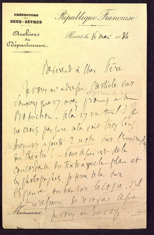 Visuel du media #7 - Lettre de Berthelé à De La Croix du 16 mai 1884, page 1
