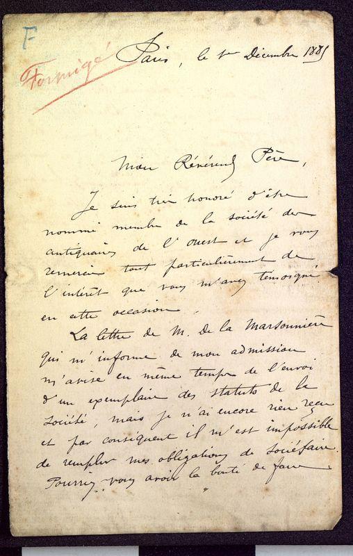 Visuel du media #7 - Lettre de Formigé à De La Croix du 01 décembre 1885, page 1
