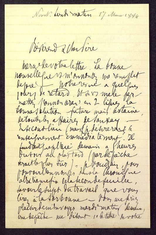 Visuel du media #3 - Lettre de Berthelé à De La Croix du 17 mars 1884, page 1