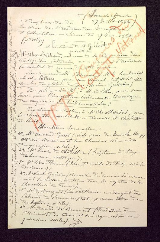Visuel du media #3 - Compte rendu de la séance de l'académie des inscriptions des belles-lettres, page 1