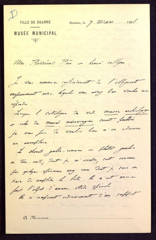 Visuel du media #5 - Lettre de Déchelette à De La Croix du 07 mars 1898, page 1