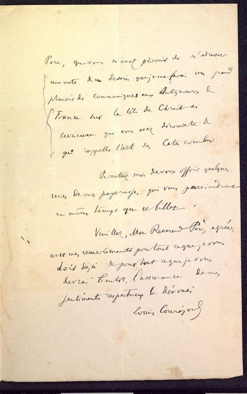 Visuel du media #3 - Lettre de Courajod à De La Croix du 08 novembre 1890, page 3