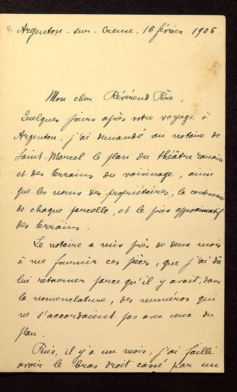 Visuel du media #12 - Lettre de Rollinat à De La Croix du 16 février 1906, page 1