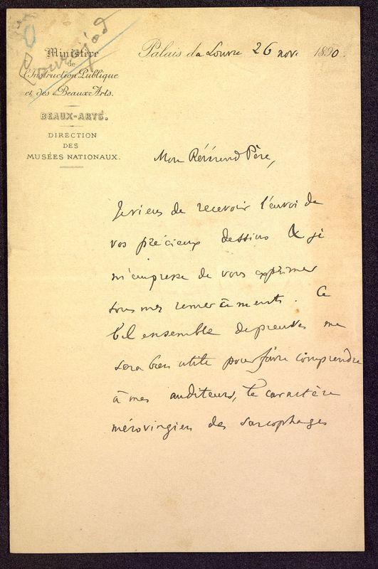 Visuel du media #4 - Lettre de Courajod à De La Croix du 26 novembre 1890, page 1