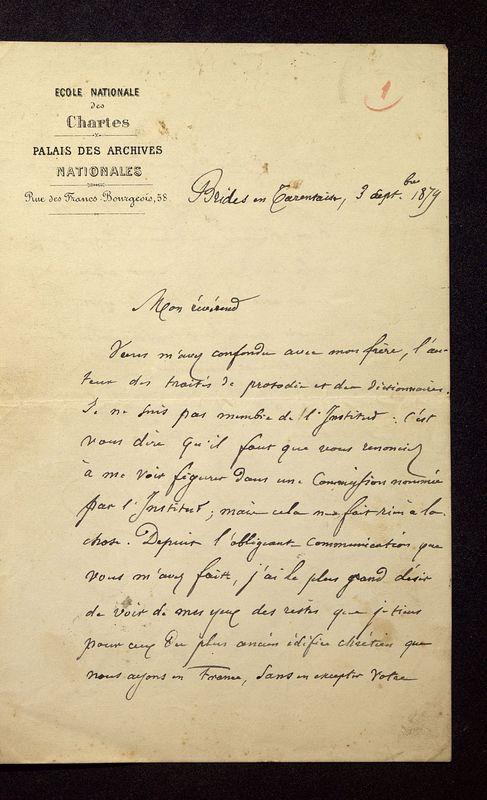 Visuel du media #4 - Lettre de Quicherat à De La Croix du 03 septembre 1879, page 1