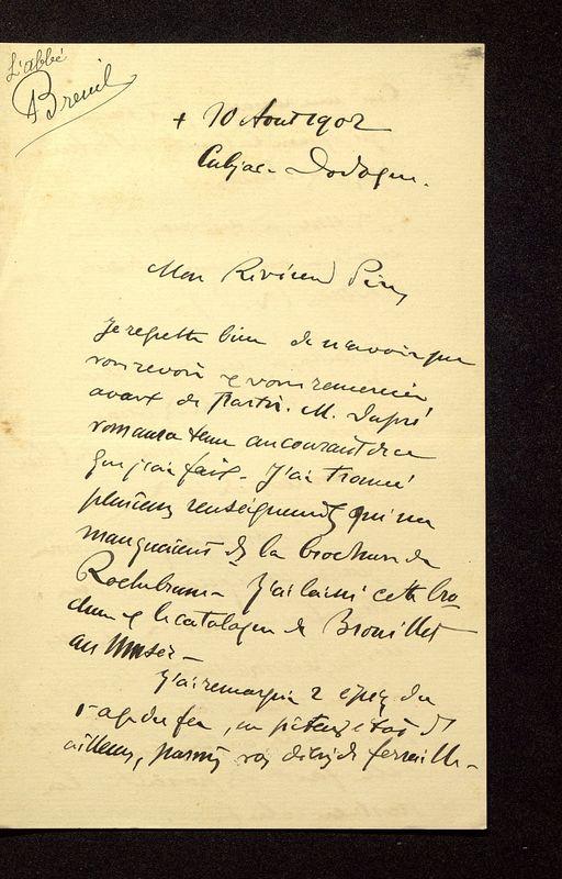 Visuel du media #8 - Lettre de Breuil à De La Croix du 10 août 1902, page 1