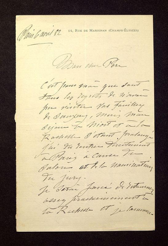 Visuel du media #2 - Lettre de Lisch à De La Croix du 06 avril 1882, page 1