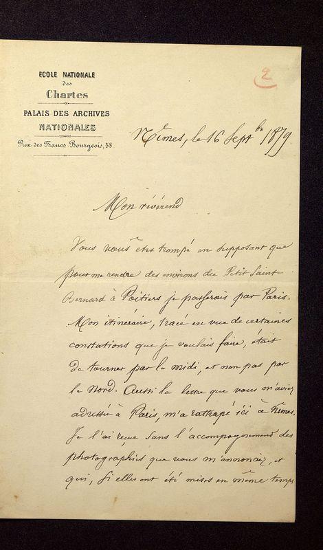 Visuel du media #8 - Lettre de Quicherat à De La Croix du 16 septembre 1879, page 1