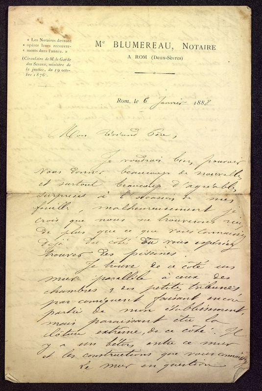 Visuel du document Correspondance avec Jean-Théophile Blumereau (1888-1899)