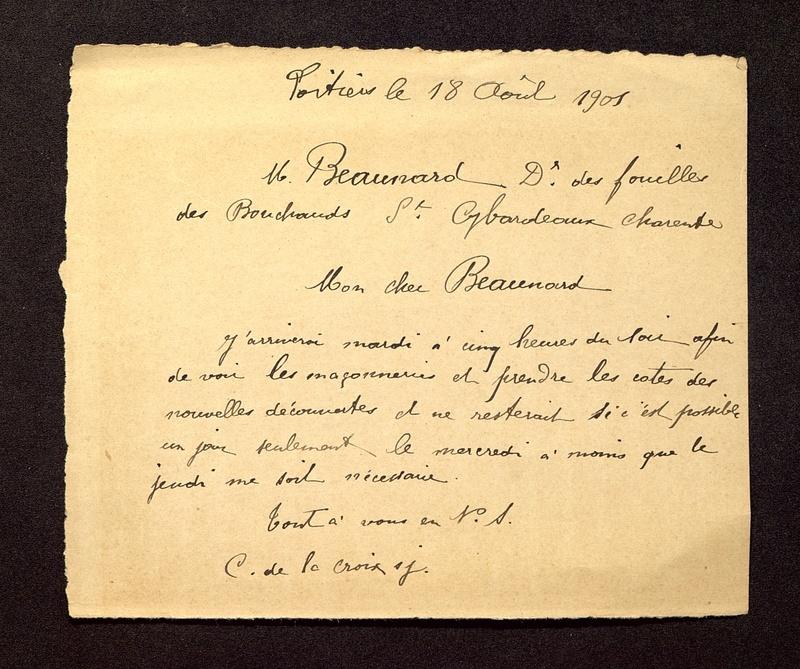Visuel du media #4 - Lettre de De La Croix à Beaunard du 18 août 1901, page 1