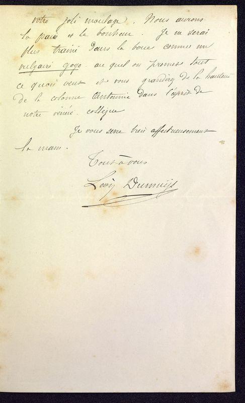 Visuel du media #11 - Lettre de Dumuÿs à De La Croix du 18 décembre 1886, page 3