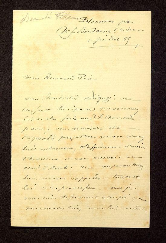 Visuel du media #8 - Lettre de Beauchet-Filleau à De La Croix du 01 juillet 1885, page 1