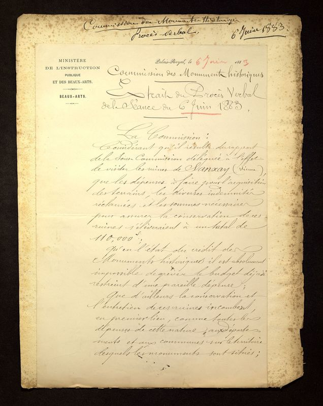 Visuel du media #12 - Lettre de Viollet-le-Duc à De La Croix du 06 juin 1883, page 1