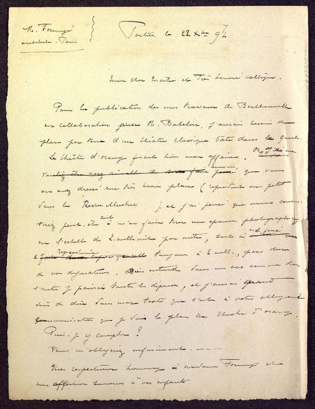 Visuel du media #9 - Brouillon de lettre de De La Croix à Formigé du 22 décembre 1897, page 1