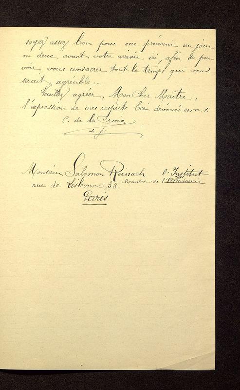 Visuel du media #11 - Lettre de De La Croix à Reinach du 24 juin 1904, page 3