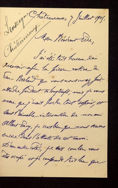 Visuel du media #2 - Lettre de Lenseigne à De La Croix du 07 juillet 1905, page 1